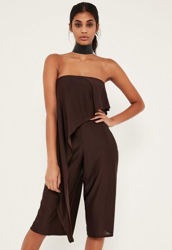 Brown Asymmetric Double Layer Culotte Jumpsuit