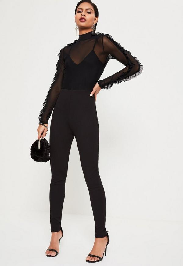 Black Mesh Top Frill Sleeve Jumpsuit