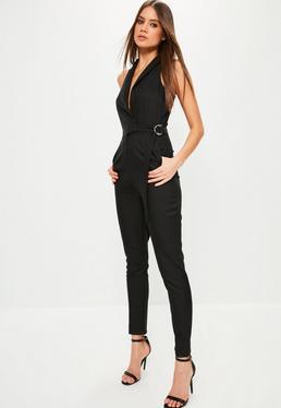 Black Sleeveless Wrap Tuxedo Jumpsuit