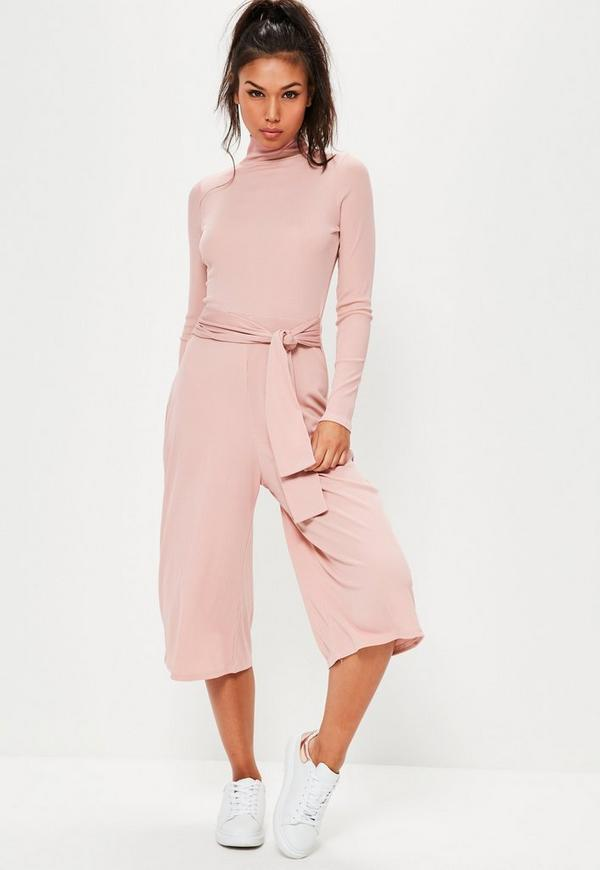 Pink High Neck Long Sleeve Belted Culotte Jumpsuit