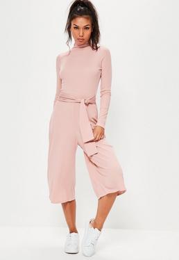 Różowy kombinezon Culotte z długim rękawem i golfem