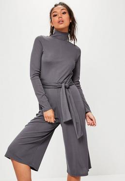 Grey High Neck Long Sleeve Belted Culotte Jumpsuit