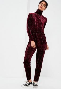 Burgundy High Neck Long Sleeve Crushed Velvet Jumpsuit
