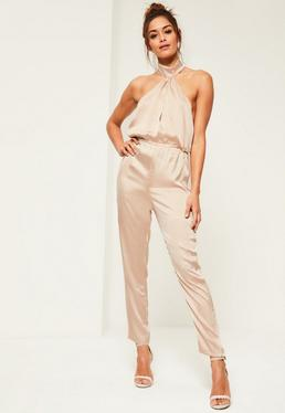 Nude High neck Silky Halterneck Jumpsuit