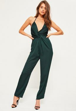 Green Knot Front Satin Halterneck Jumpsuit