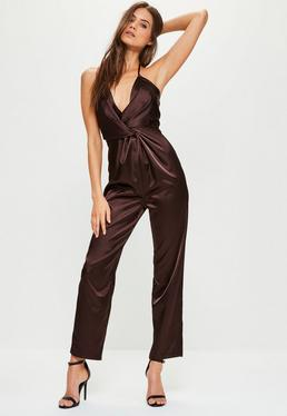 Brown Knot Satin Halterneck Jumpsuit