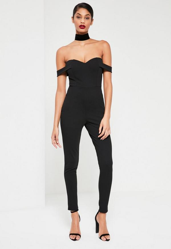 Black Bardot Strap Jumpsuit