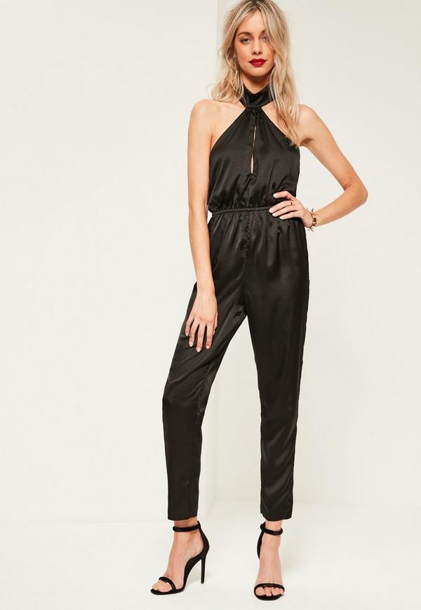 Black High Neck Silky Halterneck Jumpsuit