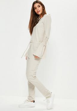Cream Tie Sleeve Raw Edge Loopback Jumpsuit