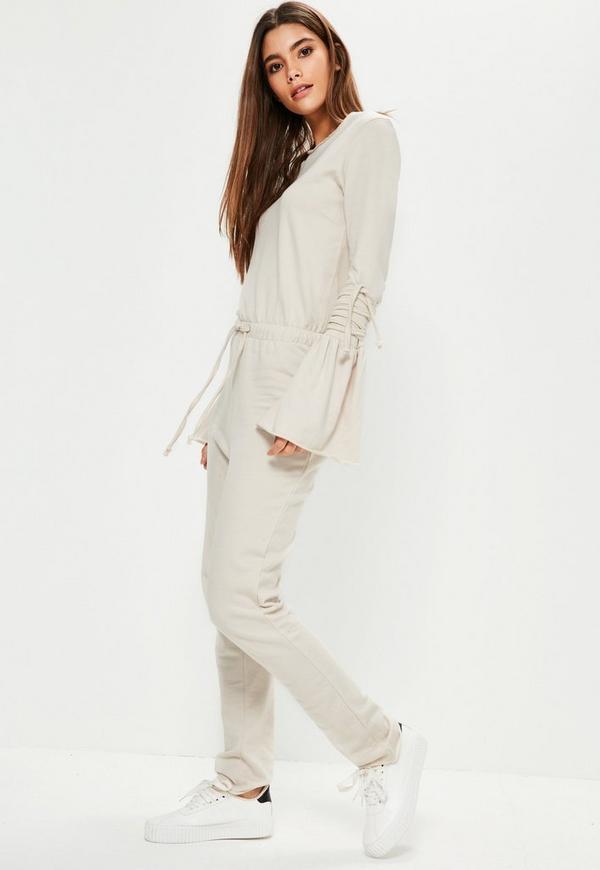 Cream Tie Sleeve Raw Edge Loopback Jumpsuit