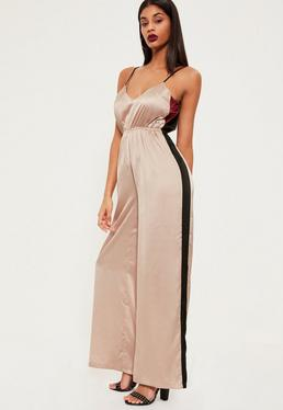 Rose Gold Contrast Stripe Satin Wide Leg Jumpsuit