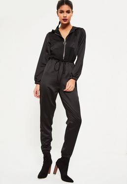 Black Heavy Satin Hooded Jumpsuit