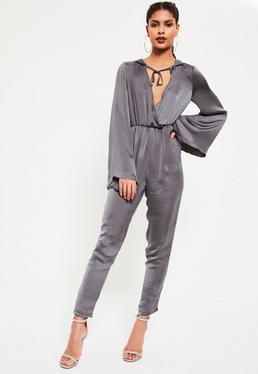 Grey Satin Wrap Lightweight Hooded Jumpsuit