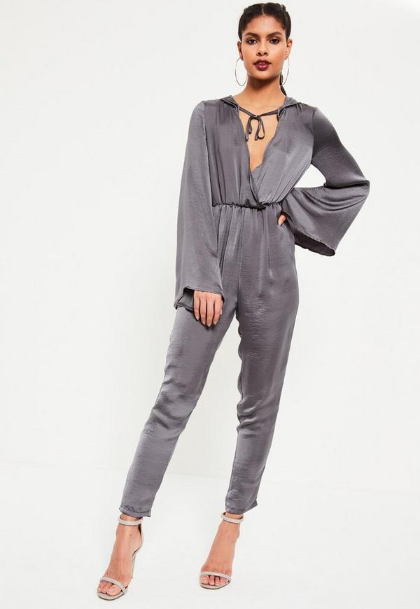 Grey Satin Wrap Lightweight Hooded Jumpsuit