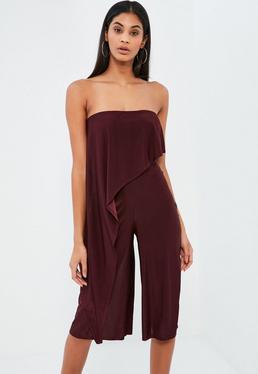 Combinaison culotte bordeaux asymétrique