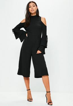 Black Cold Shoulder Flare Culotte Jumpsuit