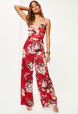 Red Floral Print Silky Strappy Jumpsuit