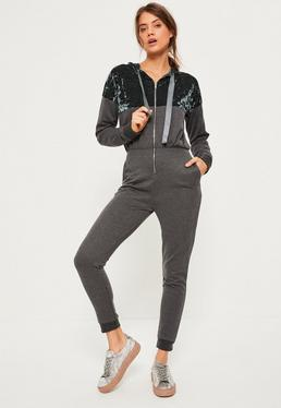 Grey Velvet Top Loopback Hooded Jumpsuit
