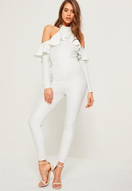 White Halter Cold Shoulder Frill Jumpsuit