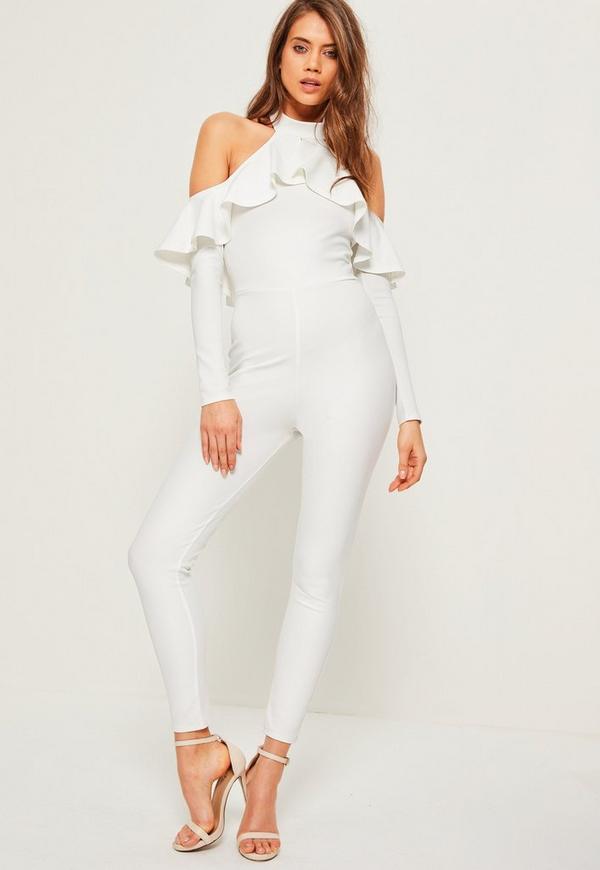 White Halter Cold Shoulder Frill Jumpsuit