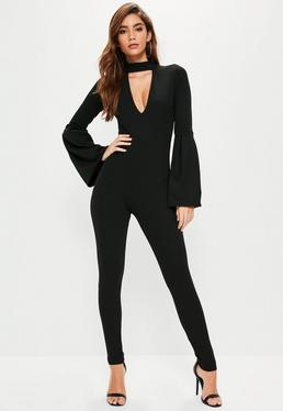 Black Balloon Sleeve Choker Neck Jumpsuit