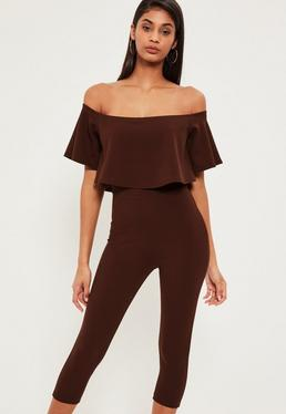 Brown Double Layer Bardot Cropped Jumpsuit