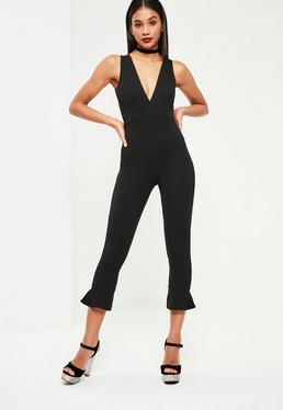 Black Flare Ankle Plunge Jumpsuit