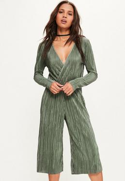 Khaki Pleated Wrap Long Sleeve Culotte Jumpsuit