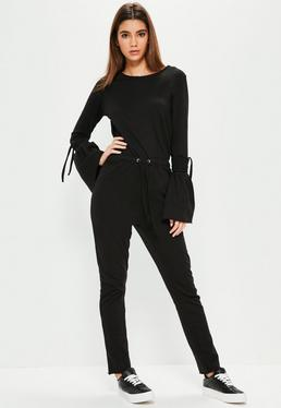 Black Tie Sleeve Raw Edge Loopback Jumpsuit