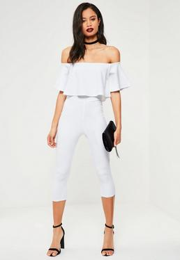 White Double Layer Bardot Cropped Jumpsuit