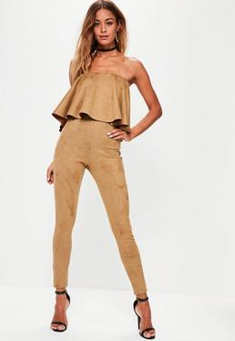 Brown Faux Suede Frill Layered Bandeau Jumpsuit