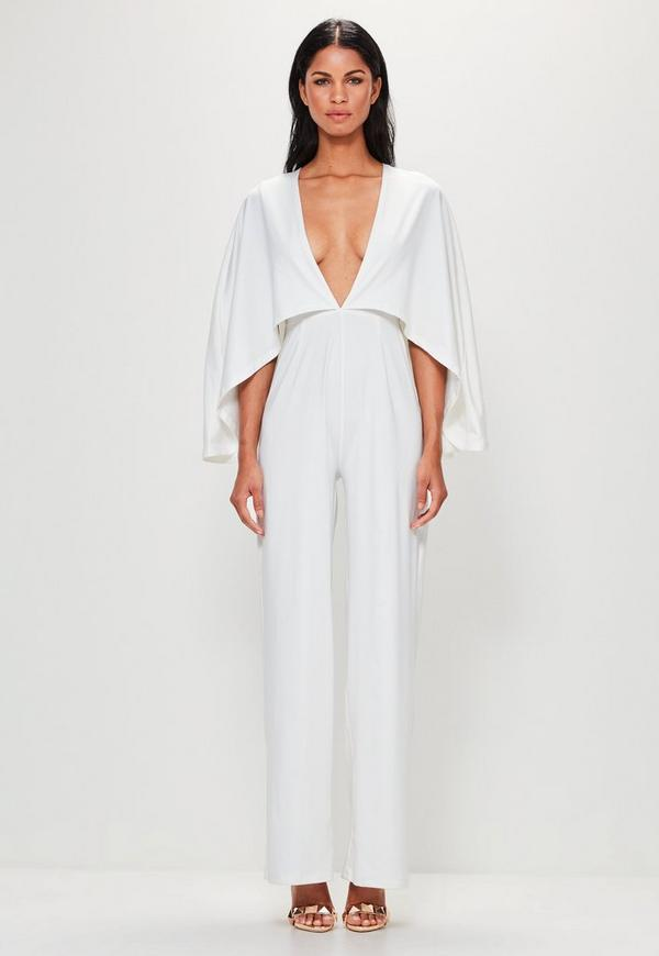 b97e2d24079 ... Peace + Love White Jersey Cape Plunge Jumpsuit. Previous Next
