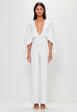 Peace + Love White Jersey Cape Plunge Jumpsuit