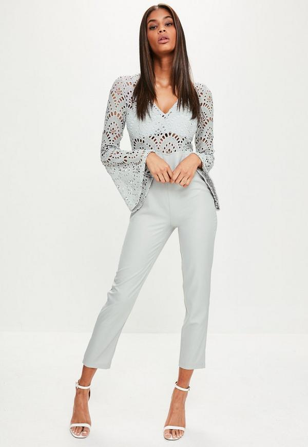 Grey Flared Sleeve Lace Top Jumpsuit