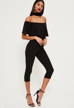 Black Double Layer Bardot Cropped Jumpsuit