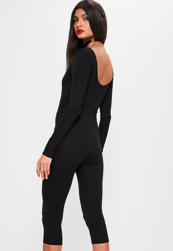 Black Oriental Tiger Long Sleeve 3/4 Leg Unitard Jumpsuit - Missguided