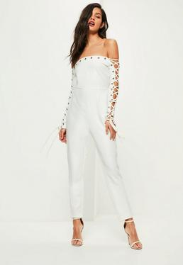 White Lace Up Eyelet Sleeve Bardot Jumpsuit