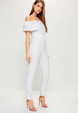 White Crepe Frill Bardot Sleeve Jumpsuit