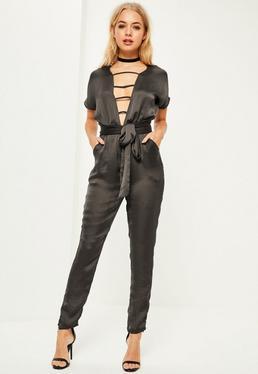 Grey Satin Slouch V Front Belted Jumpsuit