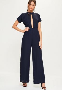 Navy High Neck Keyhole Wide Leg Jumpsuit