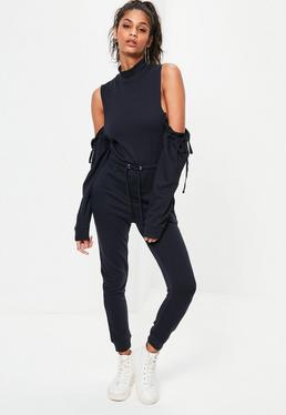 Navy Cold Shoulder Ruched Sleeve Loopback Jumpsuit