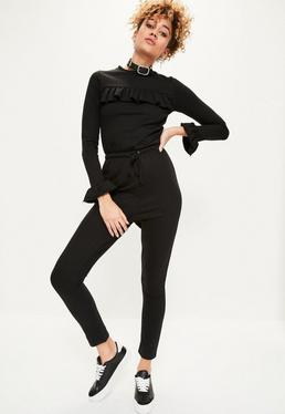 Black Frill Detail Loopback Jumpsuit