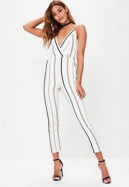 White Striped Strappy Jumpsuit