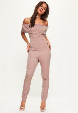 Purple Crepe Frill Bardot Sleeve Jumpsuit