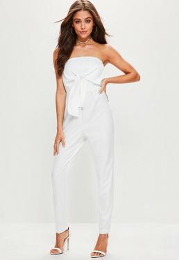 Bandeau Jumpsuit mit Taillenband zum Binden in Weiß