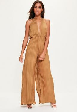 Camel Halterneck Pleated Jumpsuit