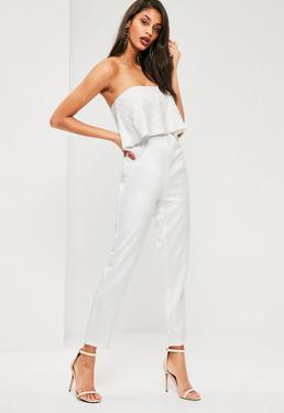 White Lace Top Bandeau Jumpsuit