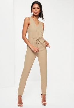 Beige Sleeveless Wrap Drawstring Waist Jumpsuit