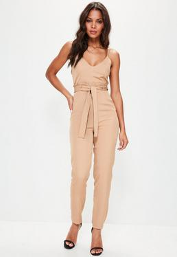 Nude Paperbag Waist Strappy Jumpsuit