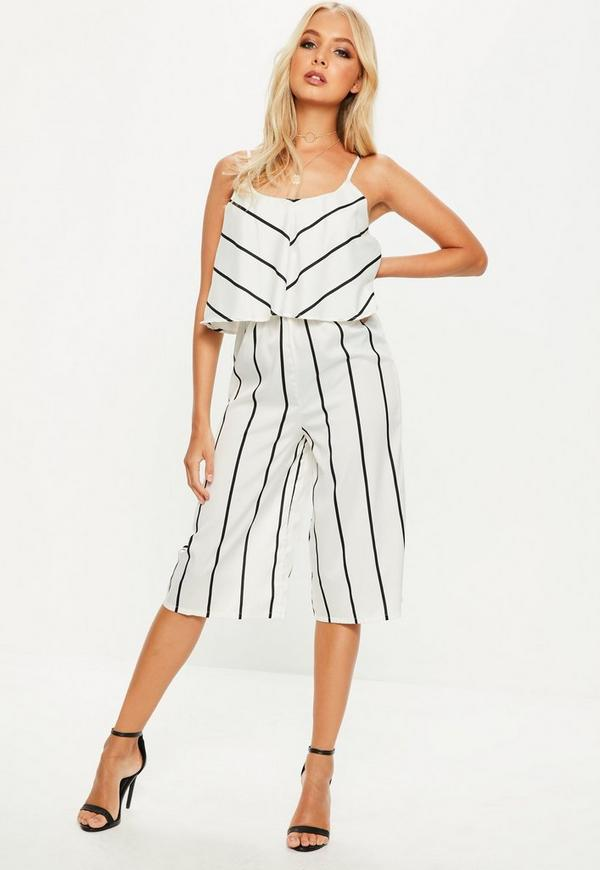 White Striped Double Layer Culotte Jumpsuit